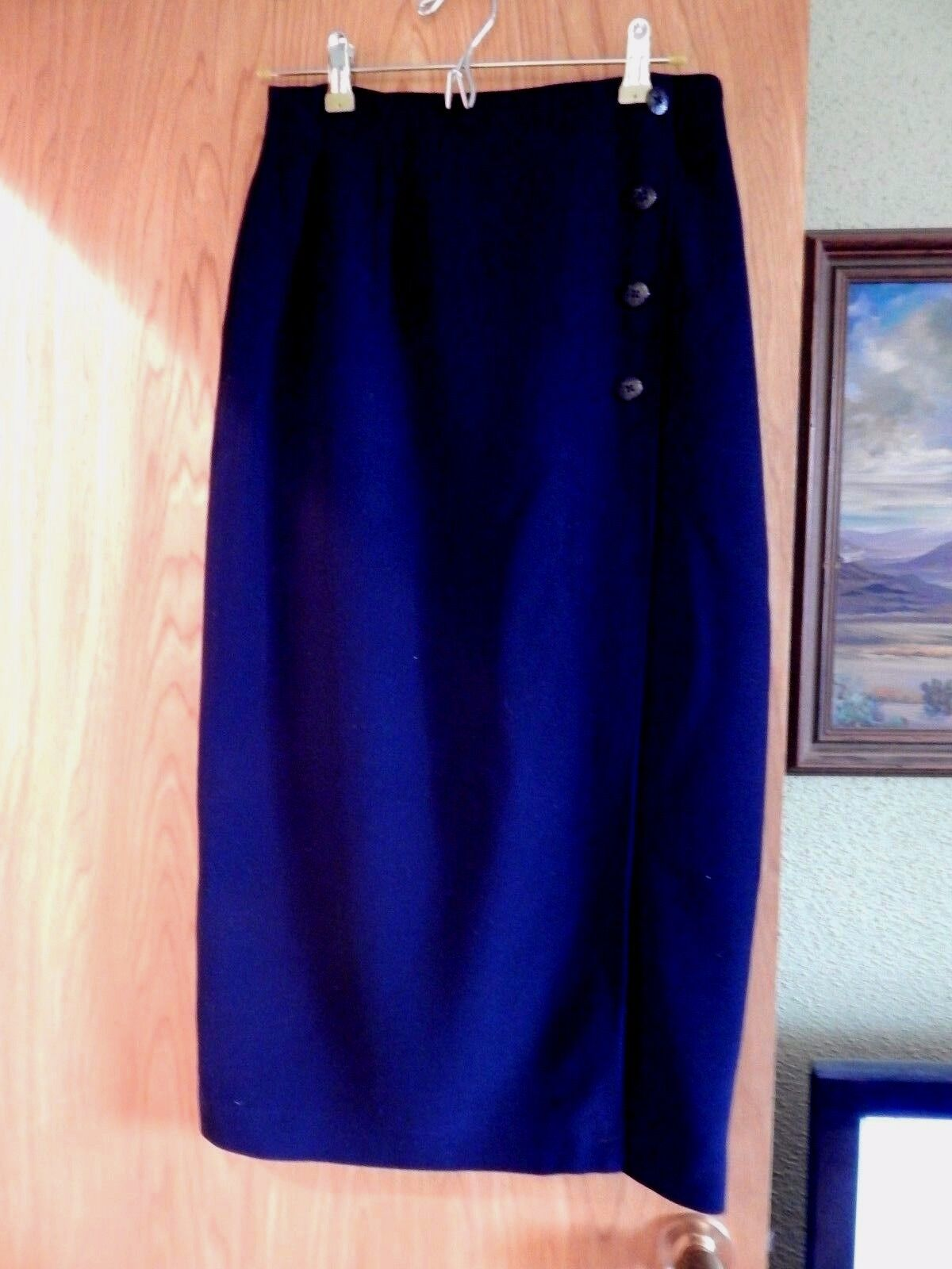LAUREN RALPH LAUREN CLASSIC NAVY (ANCHOR BUTTONS) STRAIGHT WRAP SKIRT GORGEOUS