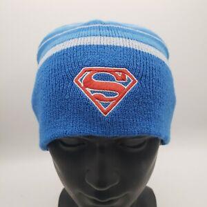 Superman Cuffless Knit Beanie Winter Hat DC Comics Book Super Hero Blue Striped