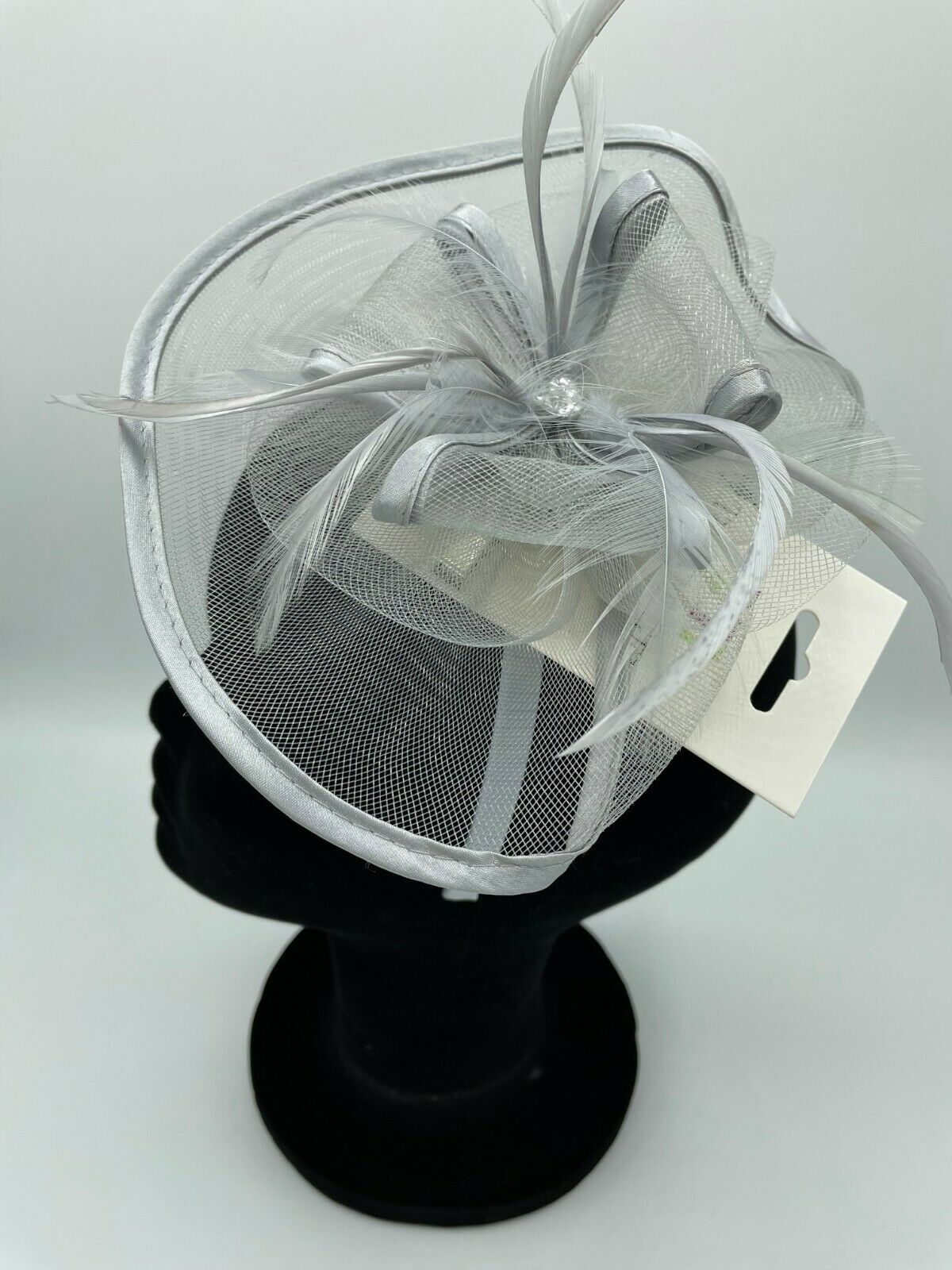 * New silver grey fascinator + headband ASCOT formal occasion