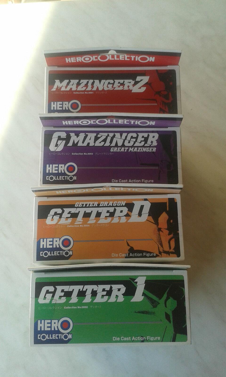 HERO COLLECTION,COMPLETA,MAZINGER,GETTER,DIECAST FIG FIG FIG ROBOT YAMATO,GO NAGAI,NUOVI 88109c