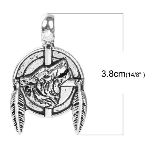2 Native American Wolf Dreamcatcher shield pendants charm in Antique silver 38mm