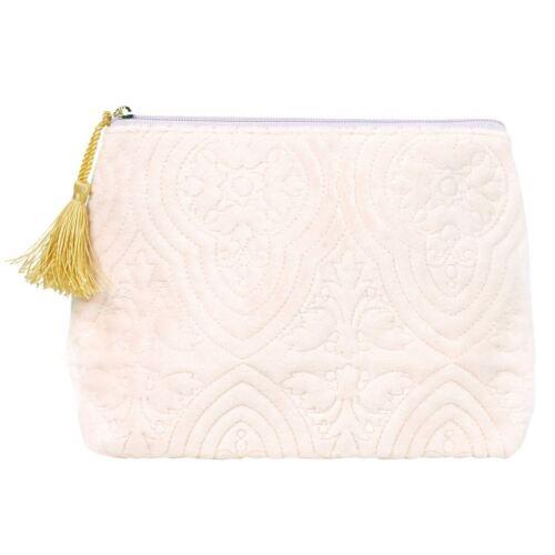 Mathilde M Large Velvet Pink Make-Up Toiletry Travel Bag Luxury Gold Tasssel