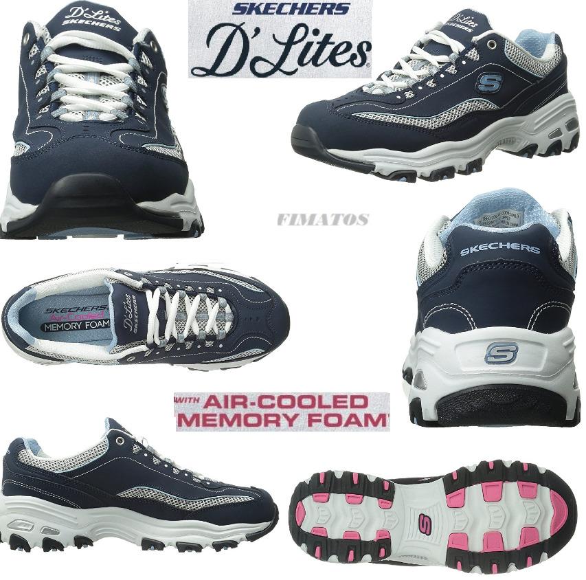 Skechers Sport femmes  D'Lites Memory Foam Lace-up Sneaker, Navy/ blanc , 8 XW US