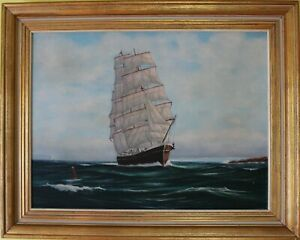 Original-oil-painting-on-canvas-seascape-Sailing-ship-on-the-high-seas-Signed