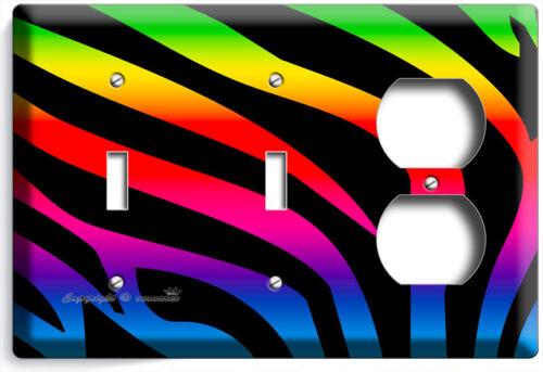 RAINBOW ZEBRA STRIPE ANIMAL PRINT LIGHT SWITCH OUTLET WALL PLATE ROOM HOME DECOR