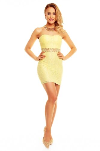 Miniikleid Bandeau Abendkleid Spitzenkleid Partykleid XS S M 34 36 38 40 Gelb