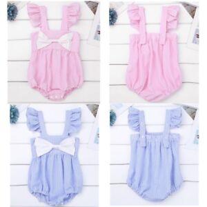 9b6a1795213c Infant Baby Girls Cotton Striped Romper Jumpsuit Bodysuit Bowtie ...