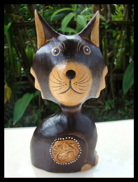 Cute Wooden Egg Shell Cat Hand Painted Hand Carved Wood Bali Home Decor