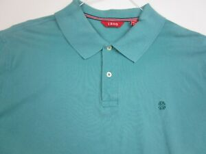 IZOD Polo Golf Shirt Adult 2XL XXL Aqua Blue Casual Short Sleeve Cotton Mens *