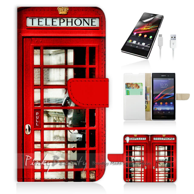 Sony Xperia Z2 Print Flip Wallet Case Cover! Old UK Phone Booth P0096