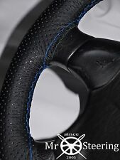 FITS FORD FOCUS 98+ PERFORATED LEATHER STEERING WHEEL COVER LIGHT BLUE DOUBLE ST