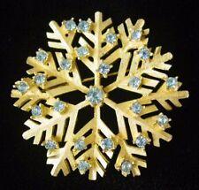 Vintage Signed DODDS Goldtone SNOWFLAKE~Ice BLUE Rhinestone PIN/Brooch,FJT