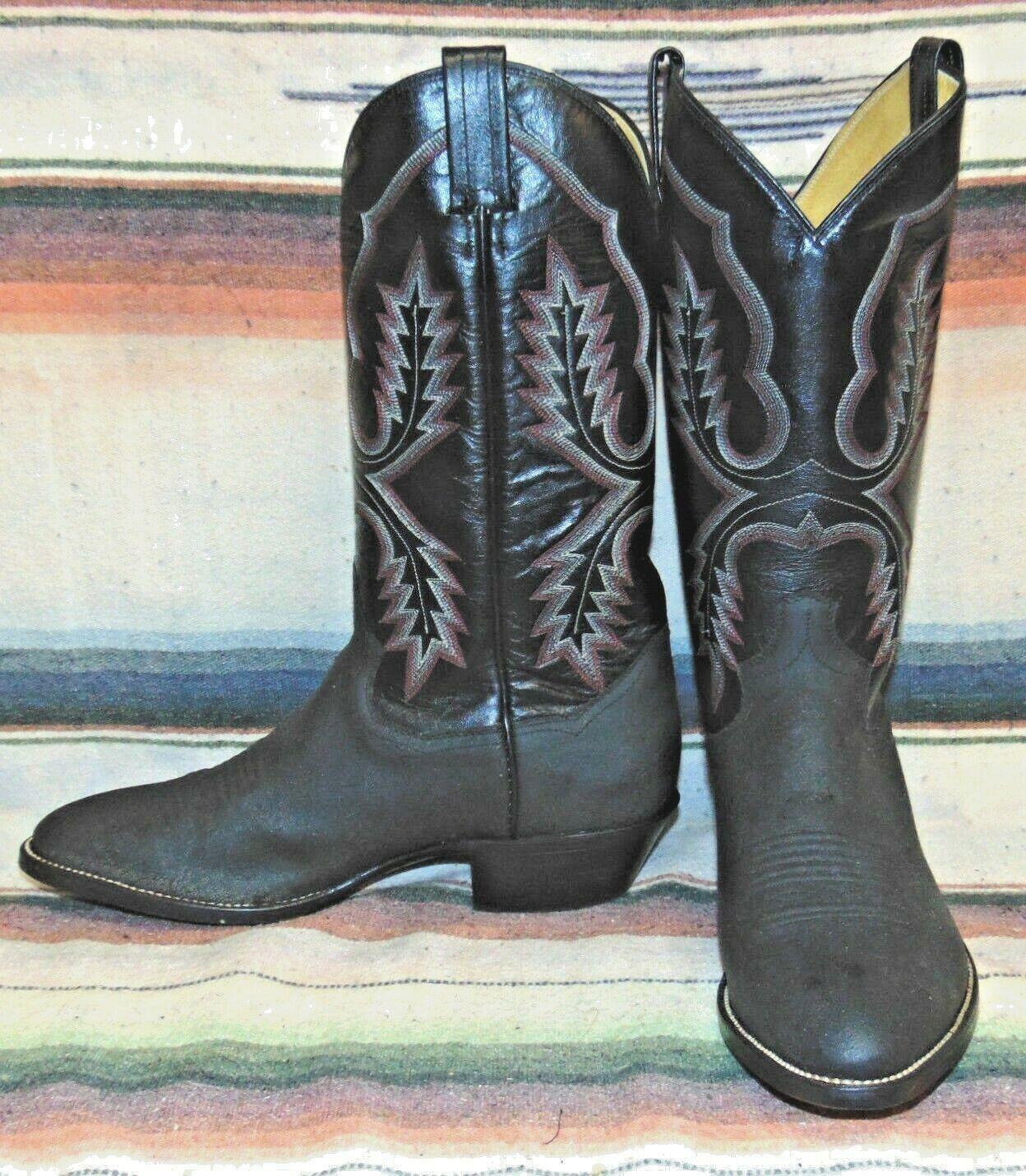 Elefante Estampado De Cuero Negro Sanders botas de vaquero para hombre 7.5 EE Mujer 9 M Nuevo