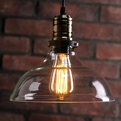 Vintage Industrial Loft Style Retro Pendant Light Ceiling Lamp 25CM Glass Shade