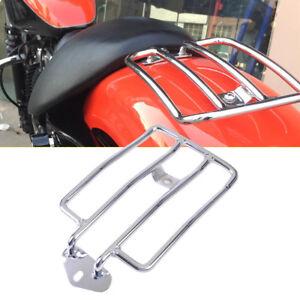 Motorrad Gepäckträger Solo Sitz Luggage Satteltaschen Rack Silber für Harley