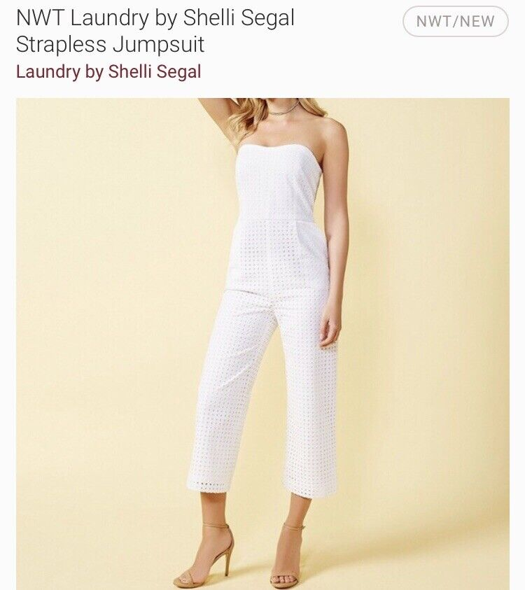 Laundry by shelli segal White Strapless Jumpsuit