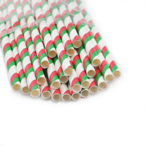 25xColor Striped Paper Drinking Straws-Rainbow Mixed Party Decorations Home Use