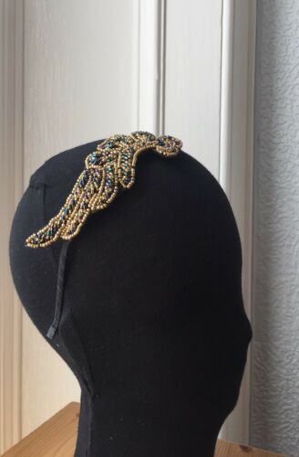 VINTAGE ART DECO 1920s GATSBY GOLD BEADED HAIRPIECE HEADBAND WEDDING BRIDAL PROM