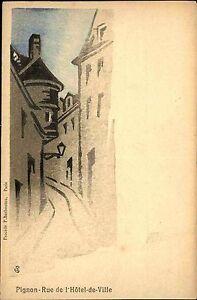Paris-Frankreich-France-AK-1900-Rue-de-l-039-Hotel-de-Ville-Gemaelde-Pignon-Painting