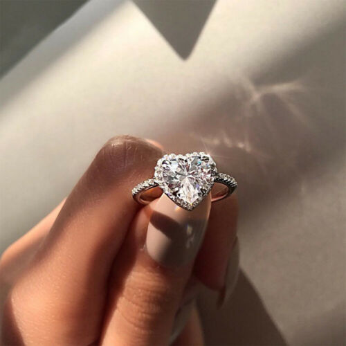 Silver Plated Crystal Women Love Heart Shaped Ring Wedding Jewelry Gifts