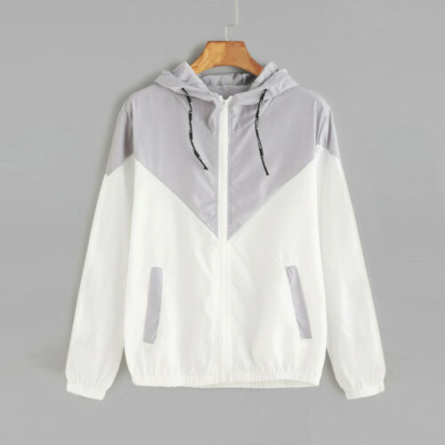 Plus Size Womens Slim Button Hood Loose Lightweight Outdoor Coat Raincoat Jacket