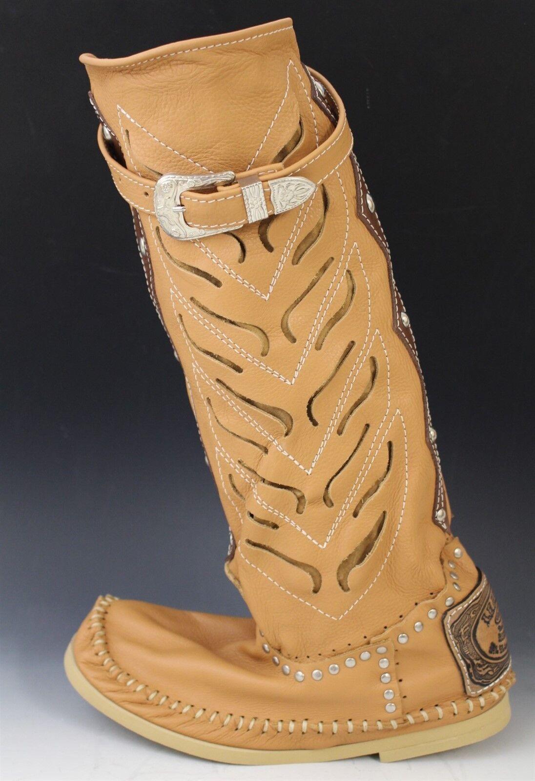 Hector Italiensk läder Cowboy Style Mocasin stövlar skor TRAFORATO bilamel US 6