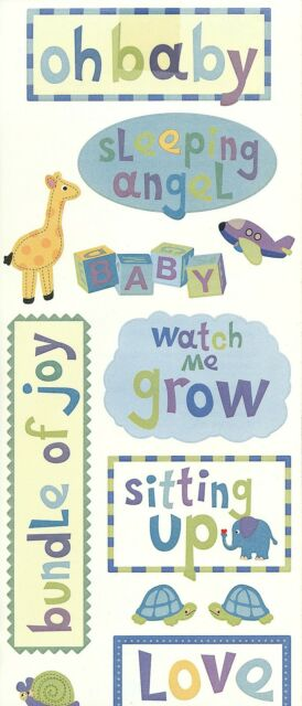 ~ Baby Boy Titles Bundle Of Joy Blue Angel Sleeping Mrs Grossman Sticker JUMBO ~