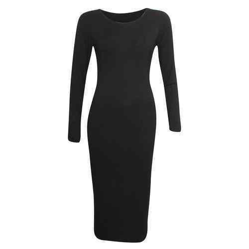 New Womens Ladies Long Sleeve Stretch Plain Bodycon Midi Maxi Dress 8-14