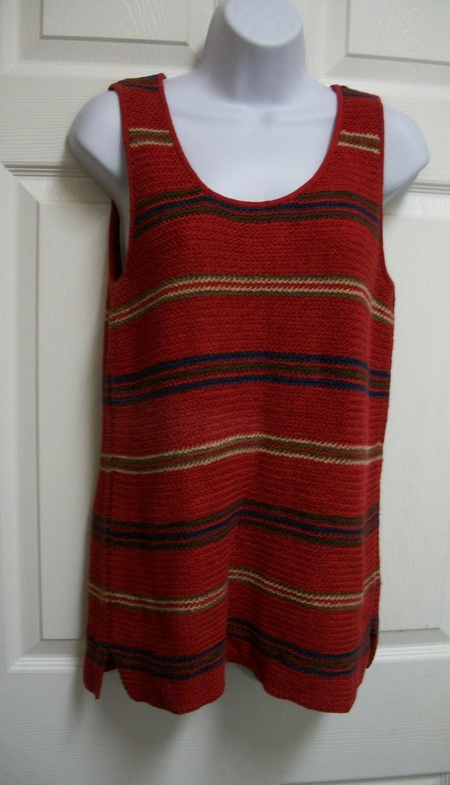 RALPH LAUREN SOUTHWESTERN INDIAN INDIAN INDIAN BLANKET COTTON LINEN SLEEVELESS SWEATER TOP M a9924a