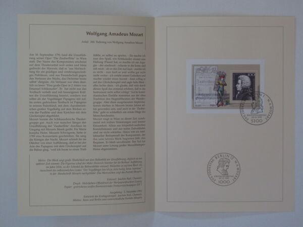 (91j43) Fédéral Journal De Souvenir 1991 Esst Mi.n ° Bloc 26 Wolfgang Amadeus