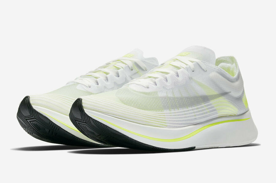 NIKE Zoom Fly SP Running shoes Mens Size 12 White Volt Glow AJ9282-107 MSRP 150