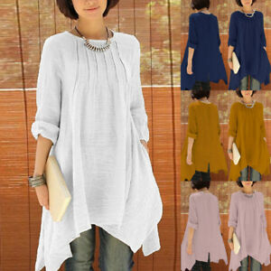 3065aedae61 Details about ZANZEA Women Oversized Pleated Asymmetrical Shirt Loose  Casual Long Tops Blouse