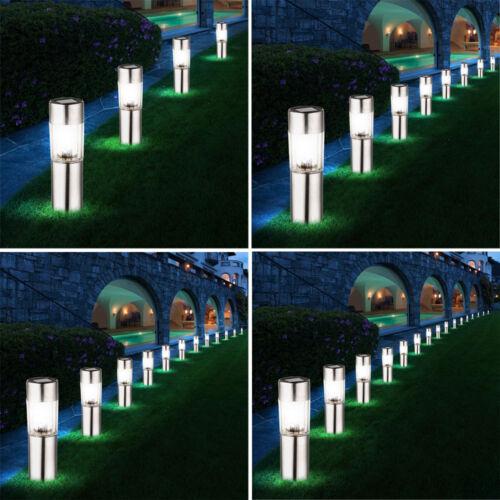 4x-8x-12x-16x LED Solar Lampen Edelstahl Leuchten Außen Beleuchtung Erdspieß