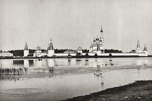 1934-Vintage-11x14-RUSSIA-Volokolamsk-Monastery-Gorodenka-River-Architecture-Art