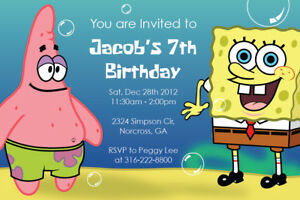Image Is Loading Spongebob Squarepants Patrick Custom Birthday Party Digital Invitation