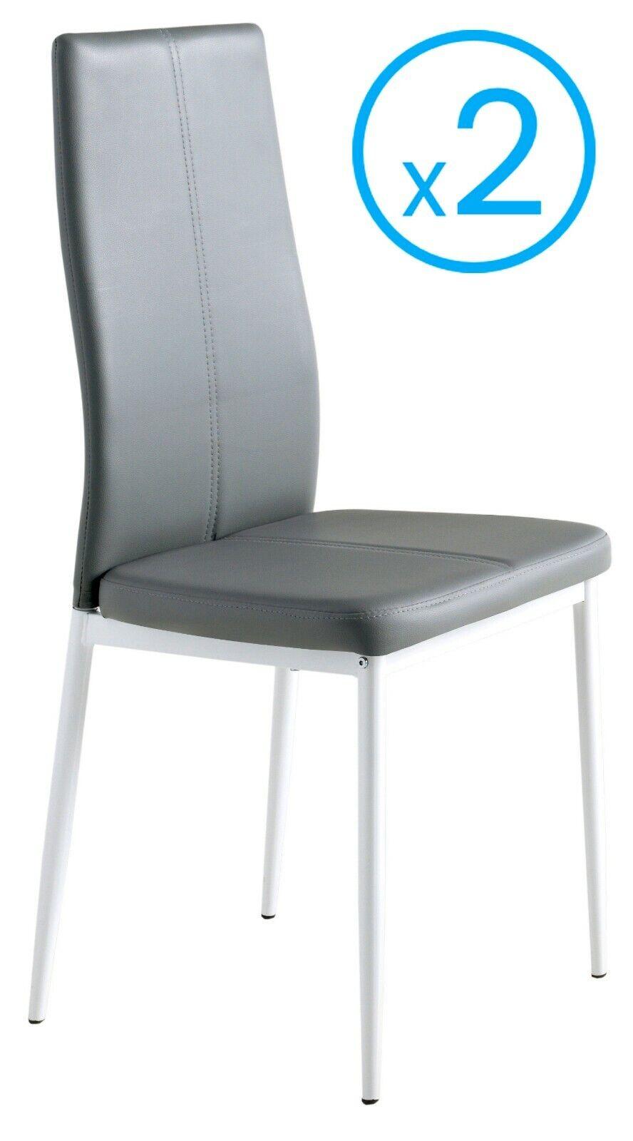 Detalles de 2 sillas polipiel color gris Sora comodas estilo moderno  comedor salon 98x42x47