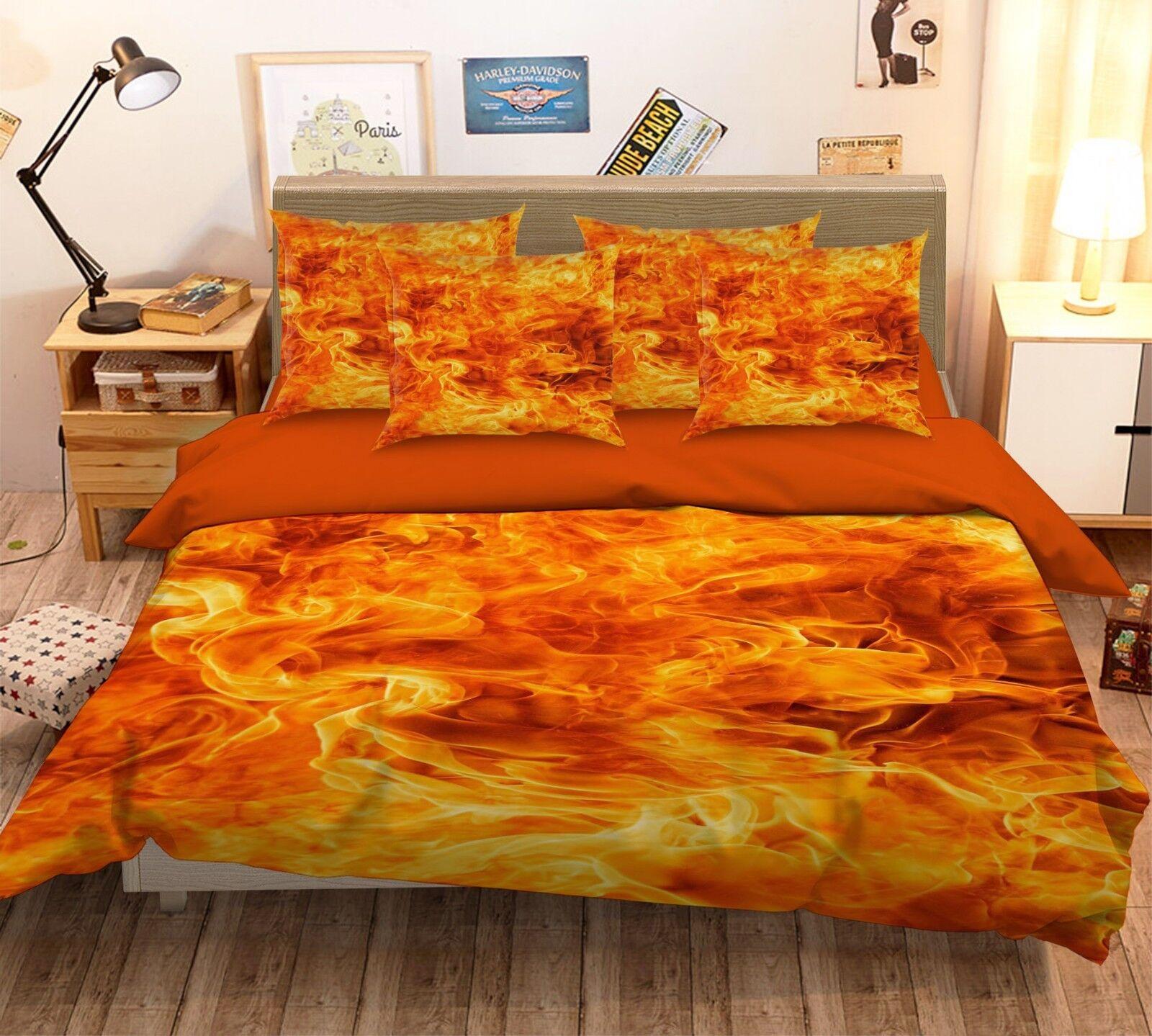 3D Warm Flame 46 Bett Pillowcases Quilt Duvet Startseite Set Single Königin König AU Cobb