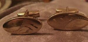 Vintage gold tone oval textured cufflinks