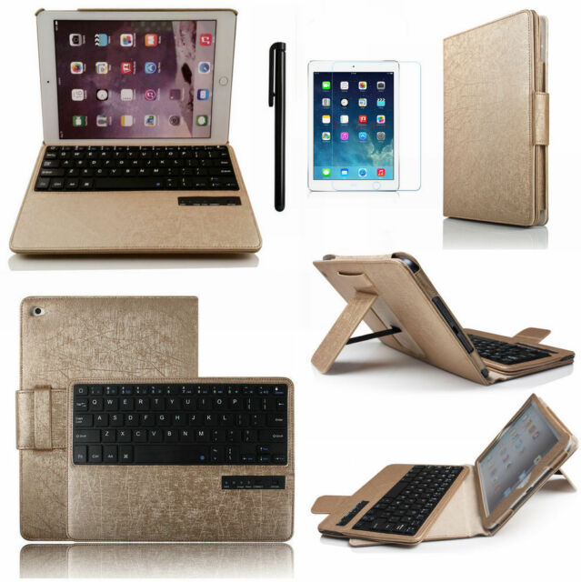 Luxury Removable Leather Folio Cover For IPad Air 2 6th Bluetooth Keyboard Case