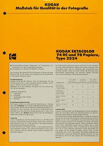 Kodak Ektacolor 74 RC und 78 Papiere, Typ 2524 - Kodak Datenblatt P-F3 - Deutschland - Kodak Ektacolor 74 RC und 78 Papiere, Typ 2524 - Kodak Datenblatt P-F3 - Deutschland