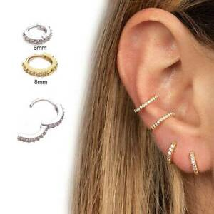 Tragus Helix Cartilage Earring Silver CZ Hoop Nose Ring Daith Piercing Jewelry