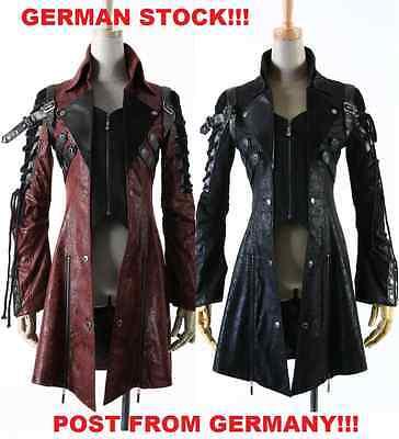 GERMAN STOCK New PUNK RAVE Gothic Vampire Heavy Metal Jacket Coat Y349 Red Black