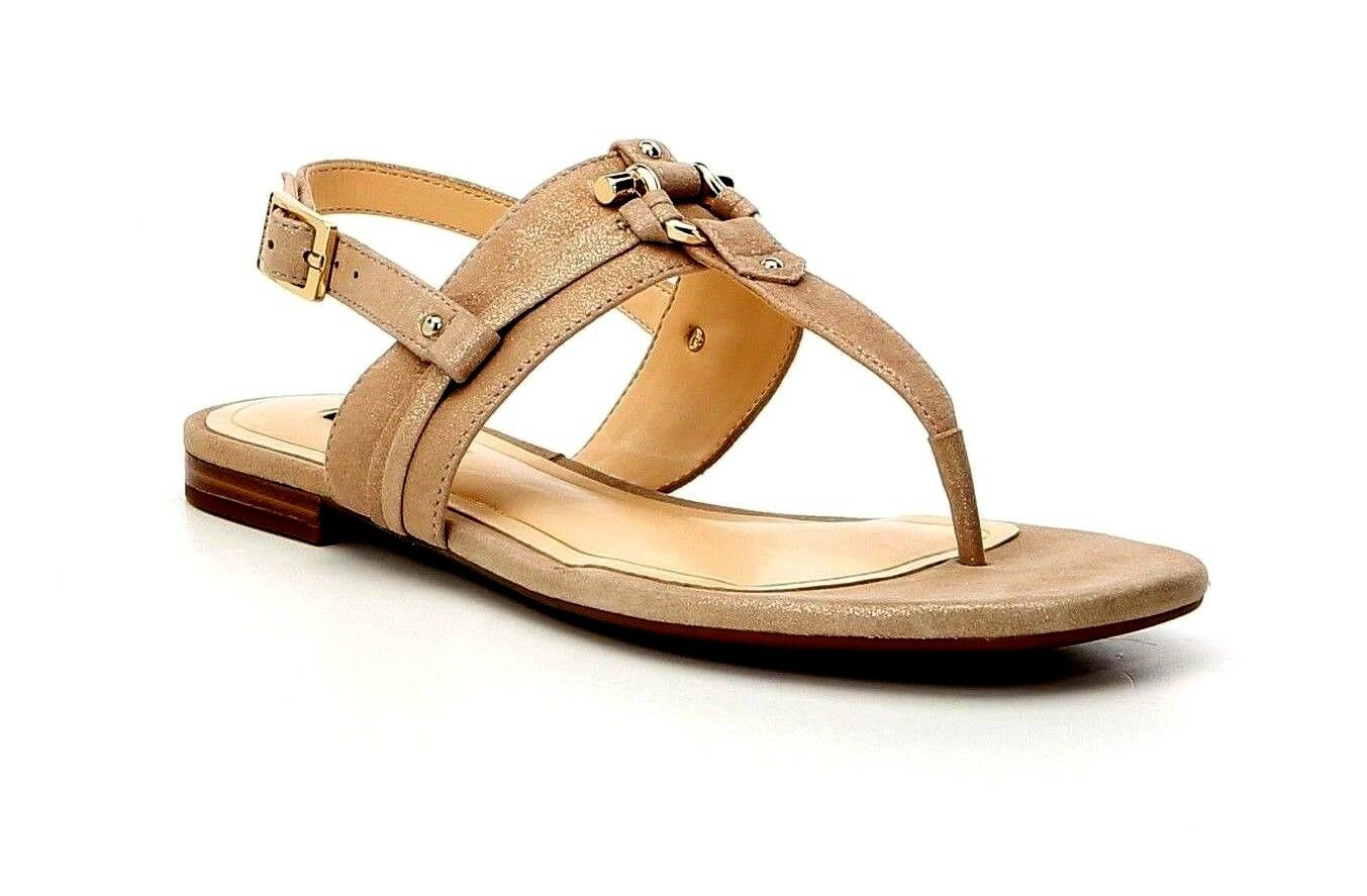 Alex Marie Fairyn Women's Size 11M Soft gold Suede Thong Flat Stud Sandals New