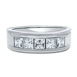 BERRICLE Sterling Silver CZ 5-Stone Anniversary Wedding Half Eternity Band Ring