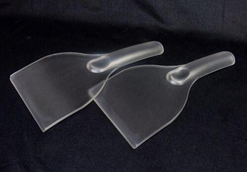 Set of 2 ~ Ergonomic Grip Handle ~ #IS100 Transparent Windshield Ice Scrapers