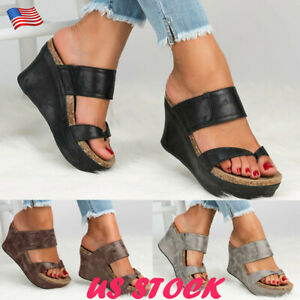 Womens-Ladies-Summer-Wedge-High-Heels-Sandals-Beach-Flip-Flop-Shoes-Size-6-9-USA