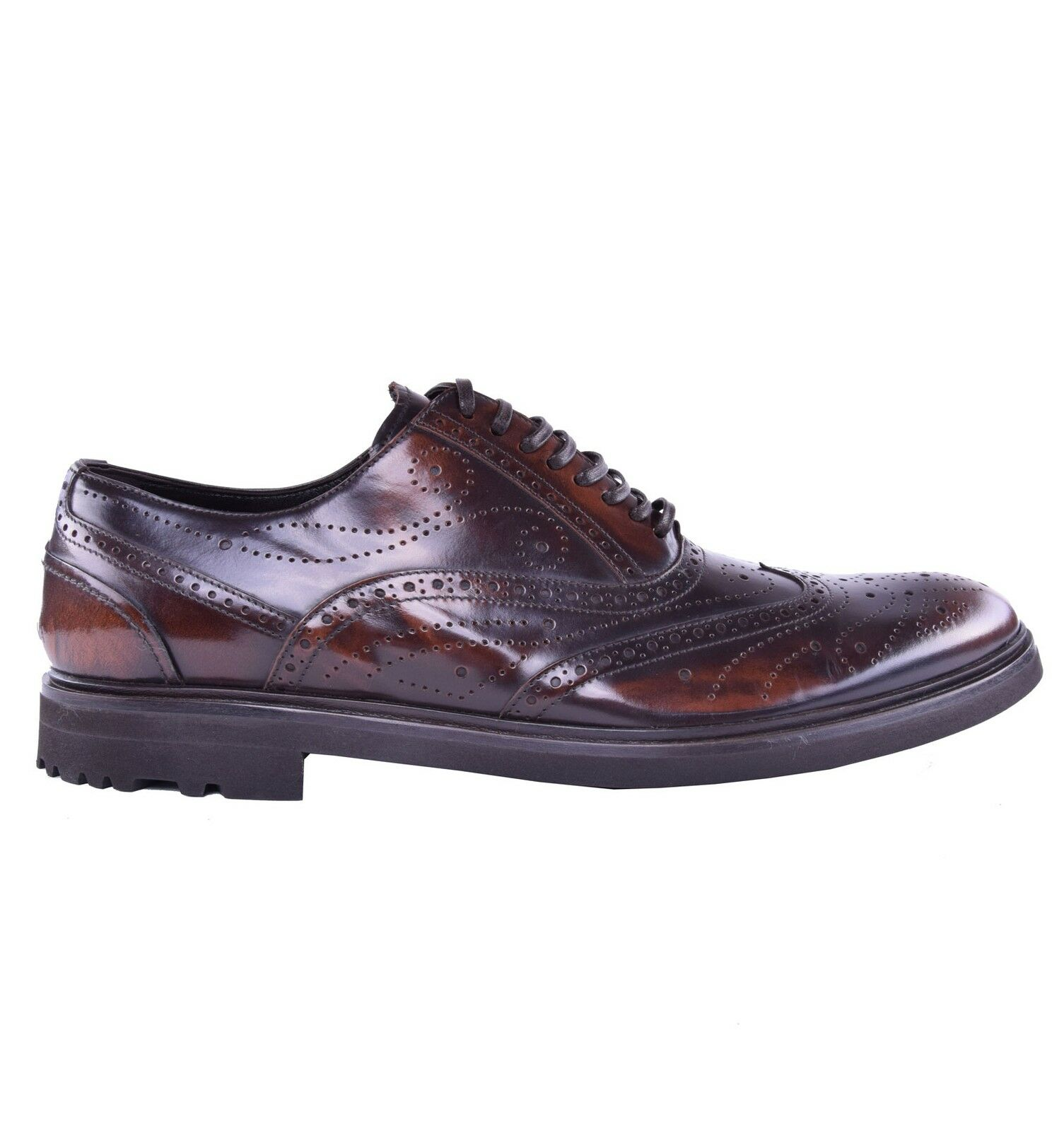 DOLCE & GABBANA Solid Business Calf Leather Shoes Brown 03879 Scarpe classiche da uomo