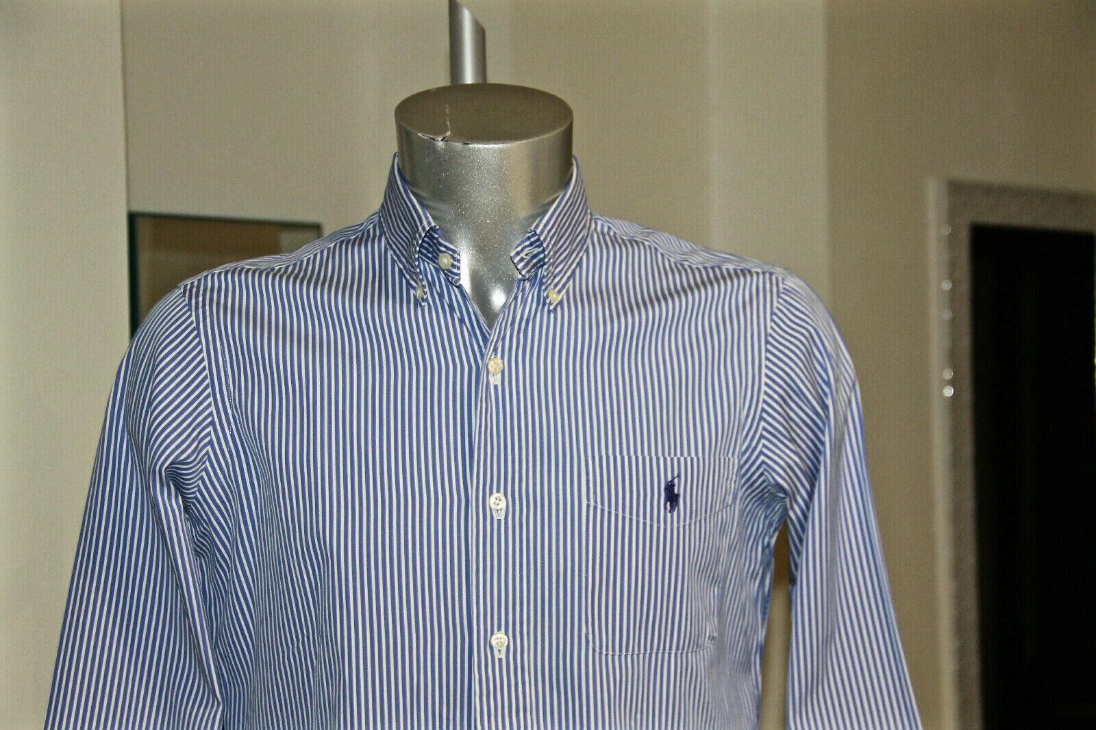 Camicia blu a righe RALPH LAUREN custom si adatta taglia 15 38 (S) COME NUOVO