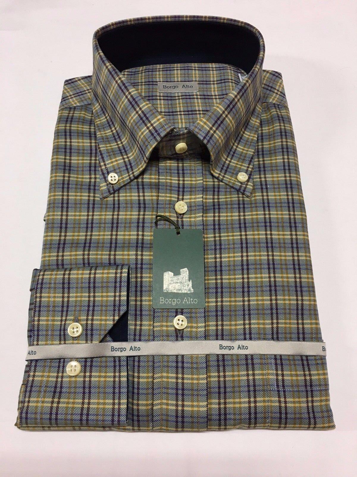 Borgo Alto Camisa de Hombre Franela Luz  Celeste Oscuro Azul Amarillo 100%  ventas de salida