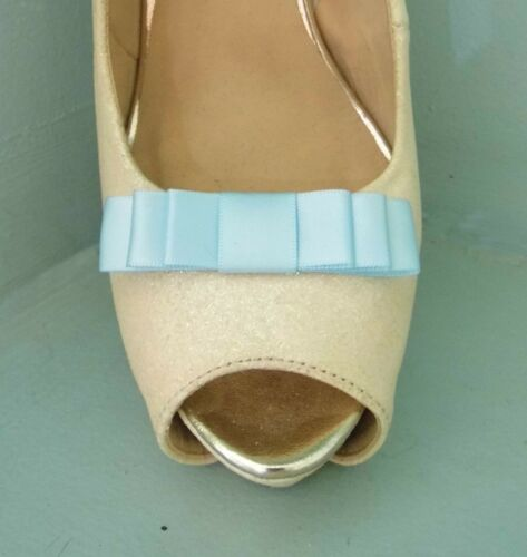 other colours on request 2 Small Baby Blue Triple Bow Clips for Shoes